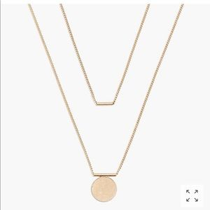 Jcrew Bar and Disc Two Layer necklace NWT